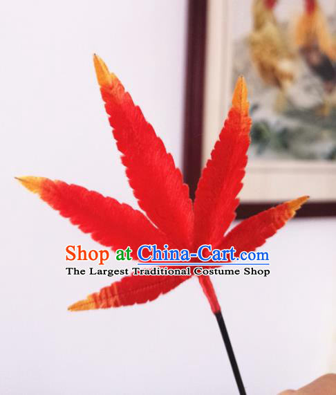 Chinese Handmade Red Velvet Maple Leaf Hairpins Ancient Palace Queen Hair Accessories Headwear for Women