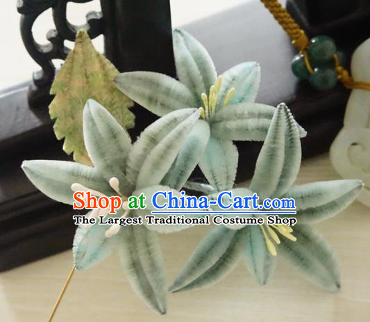 Chinese Handmade Green Velvet Flowers Hairpins Ancient Palace Queen Hair Accessories Headwear for Women