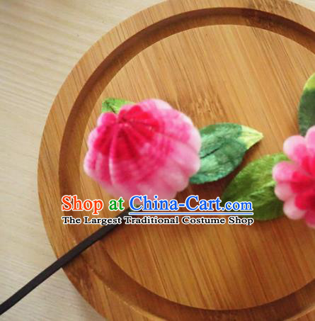 Chinese Handmade Rosy Velvet Chrysanthemum Hairpins Ancient Palace Queen Hair Accessories Headwear for Women