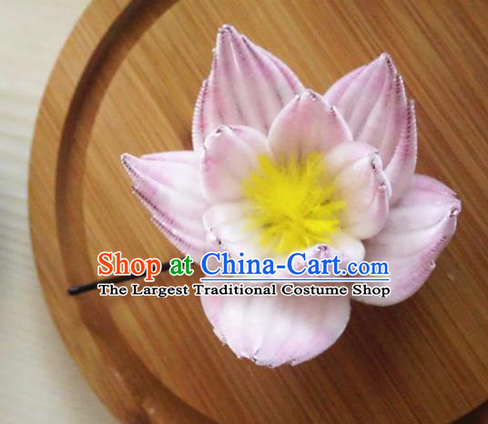 Chinese Handmade Pink Velvet Lotus Hairpins Ancient Palace Queen Hair Accessories Headwear for Women