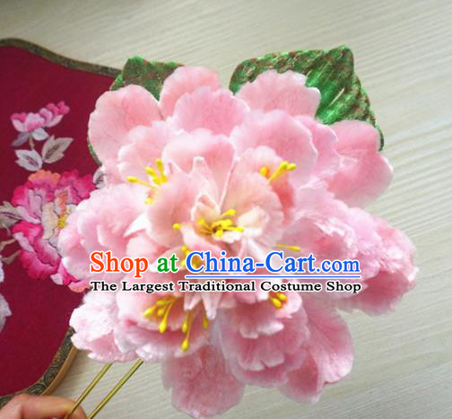 Chinese Handmade Pink Velvet Peony Hairpins Ancient Palace Queen Hair Accessories Headwear for Women