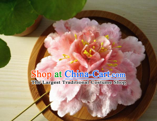 Chinese Handmade Palace Pink Peony Velvet Hairpins Ancient Queen Hair Accessories Headwear for Women