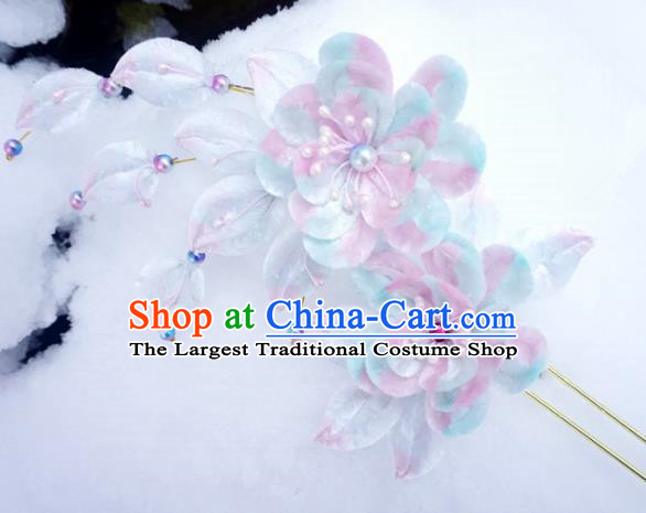 Chinese Handmade Palace Blue Plum Blossom Velvet Hairpins Ancient Queen Hair Accessories Headwear for Women