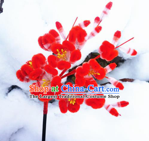 Chinese Handmade Palace Red Plum Blossom Velvet Hairpins Ancient Queen Hair Accessories Headwear for Women