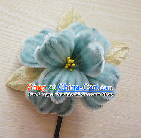 Chinese Handmade Palace Blue Camellia Velvet Hairpins Ancient Queen Hair Accessories Headwear for Women