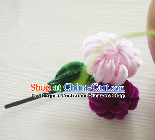 Chinese Handmade Palace Velvet Pink Chrysanthemum Hairpins Ancient Queen Hair Accessories Headwear for Women