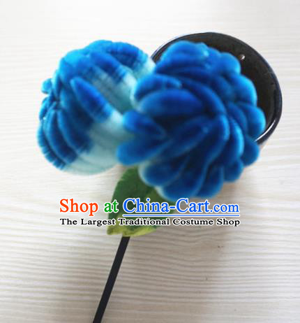 Chinese Handmade Palace Deep Blue Velvet Chrysanthemum Hairpins Ancient Queen Hair Accessories Headwear for Women