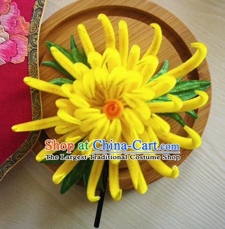 Chinese Handmade Palace Yellow Chrysanthemum Velvet Hairpins Ancient Queen Hair Accessories Headwear for Women