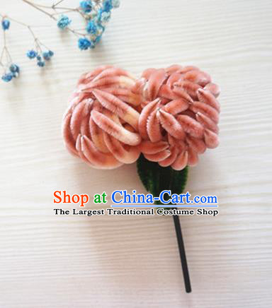 Chinese Handmade Palace Orange Chrysanthemum Velvet Hairpins Ancient Queen Hair Accessories Headwear for Women