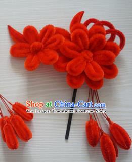 Chinese Handmade Palace Red Velvet Hairpins Ancient Queen Hair Accessories Headwear for Women