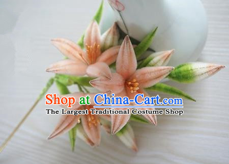 Chinese Handmade Palace Pink Lily Flowers Velvet Hairpins Ancient Queen Hair Accessories Headwear for Women