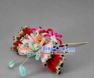 Chinese Handmade Palace Velvet Butterfly Hairpins Ancient Queen Hair Accessories Headwear for Women