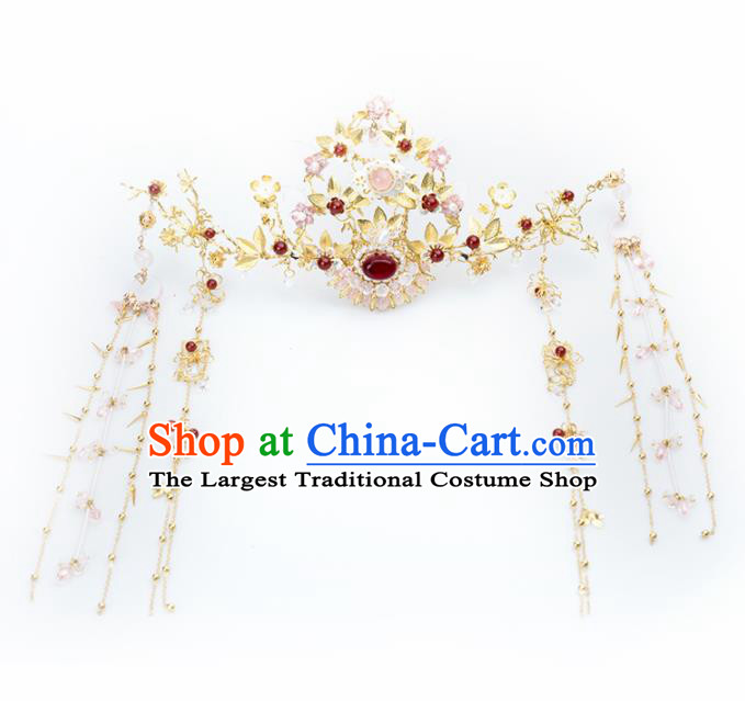 Chinese Handmade Hanfu Agate Phoenix Coronet Hairpins Ancient Princess Hair Accessories Headwear for Women