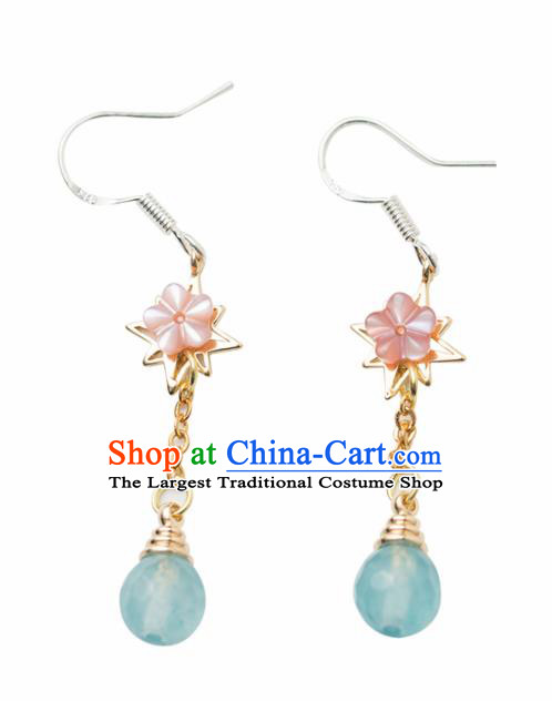 Handmade Chinese Classical Hanfu Blue Bead Earrings Ancient Palace Ear Accessories for Women