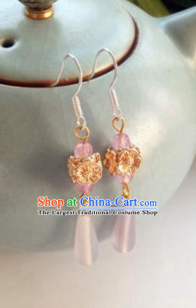 Handmade Chinese Classical Pink Earrings Ancient Palace Hanfu Ear Accessories for Women
