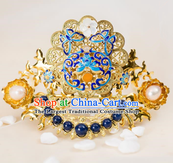 Chinese Handmade Hanfu Cloisonne Phoenix Coronet Hairpins Ancient Princess Hair Accessories Headwear for Women