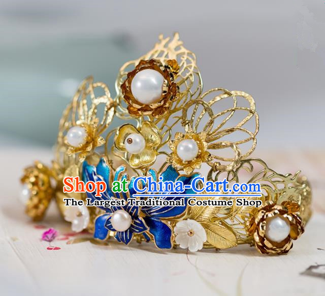 Chinese Handmade Hanfu Cloisonne Lotus Hair Crown Hairpins Ancient Princess Hair Accessories Headwear for Women
