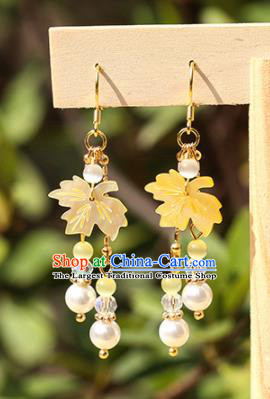 Handmade Chinese Classical Yellow Maple Leaf Earrings Ancient Palace Hanfu Ear Accessories for Women