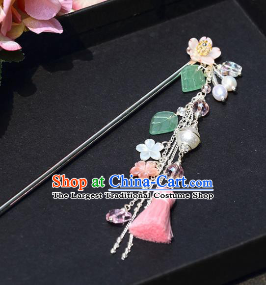 Chinese Handmade Hanfu Hairpins Pink Tassel Step Shake Ancient Palace Princess Hair Accessories Headwear for Women