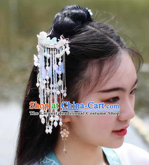 Chinese Handmade Hanfu Hair Crown Tassel Hairpins Ancient Princess Hair Accessories Headwear for Women