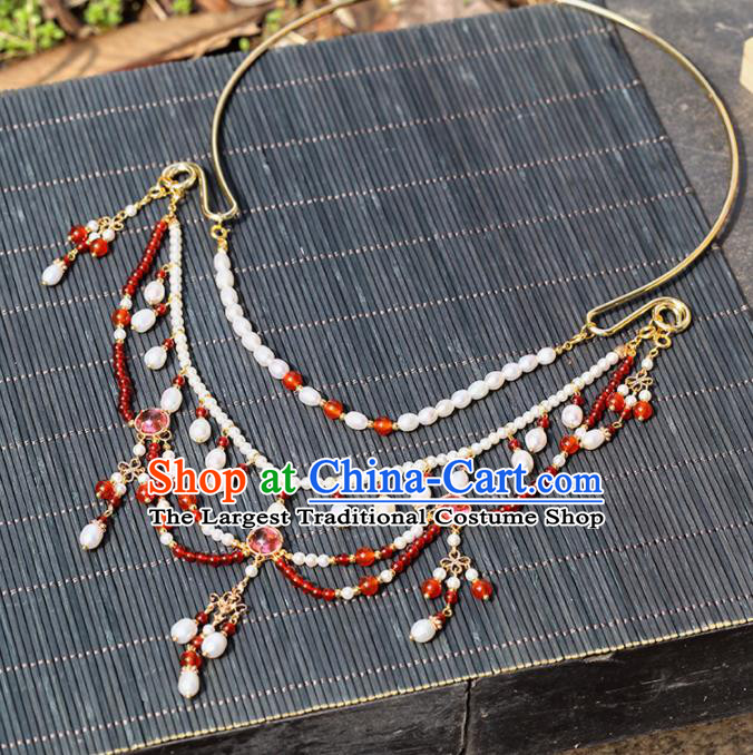 Handmade Chinese Classical Tassel Necklace Ancient Palace Hanfu Beads Necklet Accessories for Women