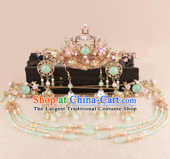 Chinese Handmade Palace Phoenix Coronet Hairpins Ancient Hanfu Princess Hair Accessories Headwear for Women
