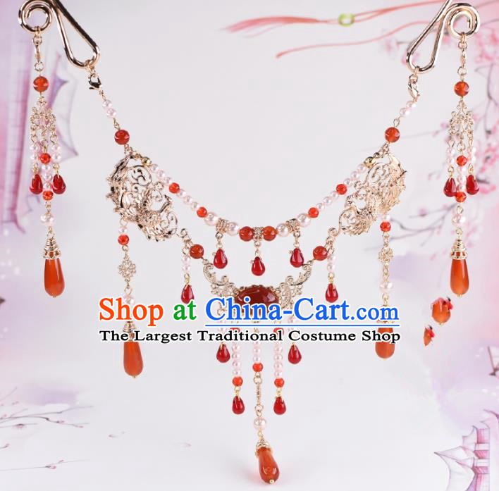 Handmade Chinese Classical Agate Tassel Necklace Ancient Palace Hanfu Necklet Accessories for Women