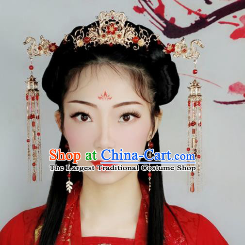Chinese Handmade Palace Dragons Hair Crown Tassel Hairpins Ancient Princess Hanfu Hair Accessories Headwear for Women