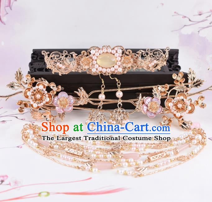 Chinese Handmade Palace Chalcedony Hair Crown Hairpins Ancient Princess Hanfu Hair Accessories Headwear for Women