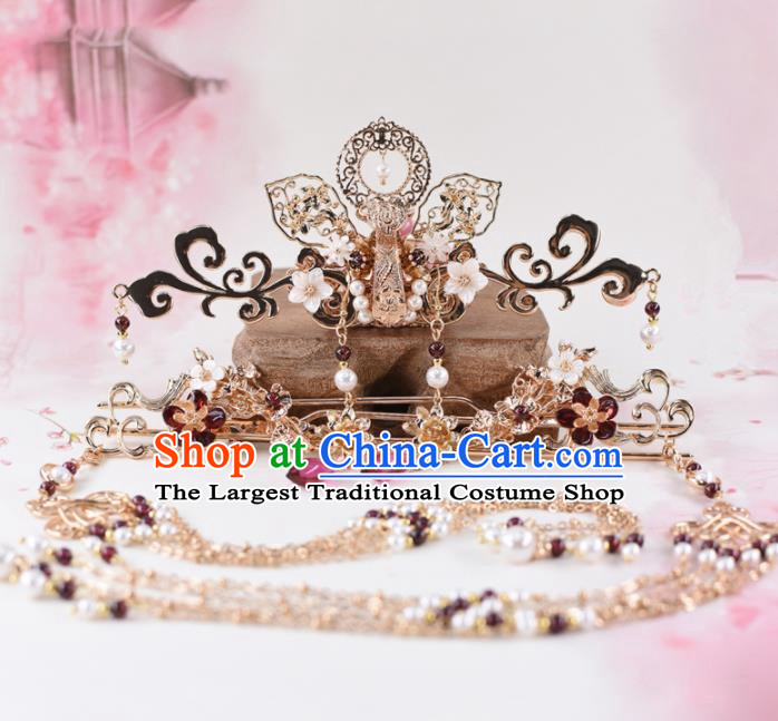 Chinese Handmade Palace Hair Crown Hairpins Ancient Princess Hanfu Hair Accessories Headwear for Women