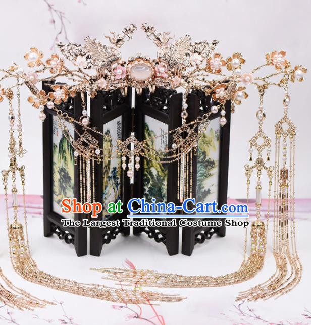 Chinese Handmade Palace Opal Hair Crown Hairpins Ancient Princess Hanfu Hair Accessories Headwear for Women