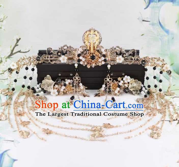 Chinese Handmade Palace Aventurine Hair Crown Hairpins Ancient Princess Hanfu Hair Accessories Headwear for Women