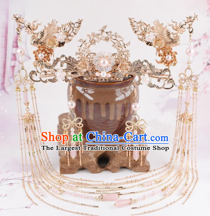 Chinese Handmade Palace Phoenix Coronet Hairpins Ancient Princess Hanfu Hair Accessories Headwear for Women