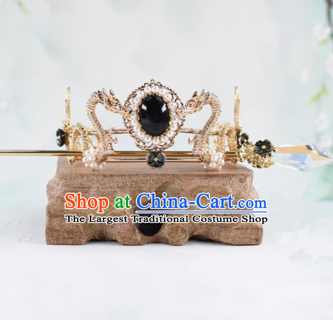 Chinese Traditional Hair Accessories Ancient Swordsman Prince Dragons Hairdo Crown for Men