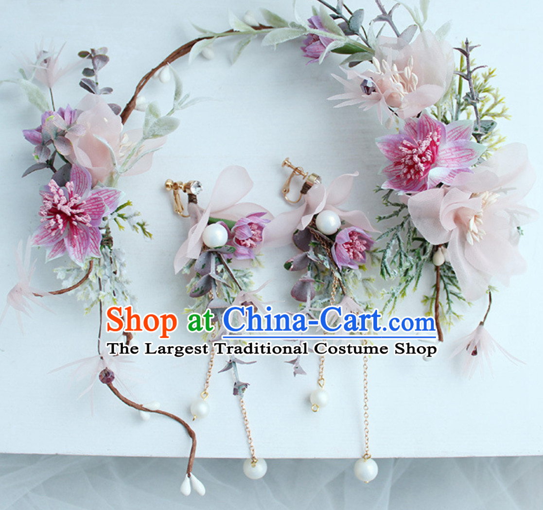 Romantic Princess Handmade Flower Crown and Earrings Set