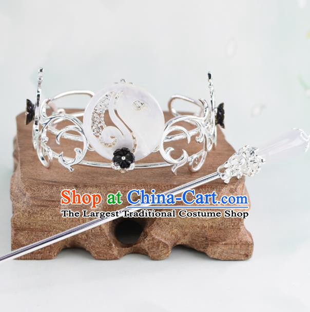Chinese Traditional Hair Accessories Ancient Swordsman Prince White Jade Hairdo Crown for Men