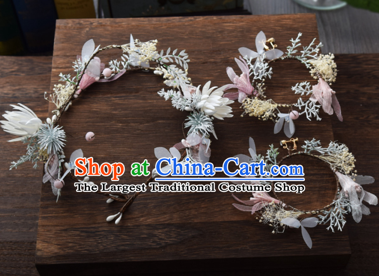 Beautiful Handmade Flower Head Wear Garland Hair Decoration and Earrings for Women
