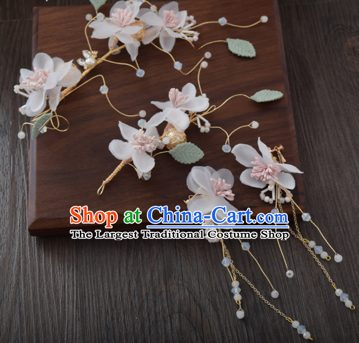 Clasical Handmade Flower Head Wear Garland Hair Jewelry and Earrings for Women