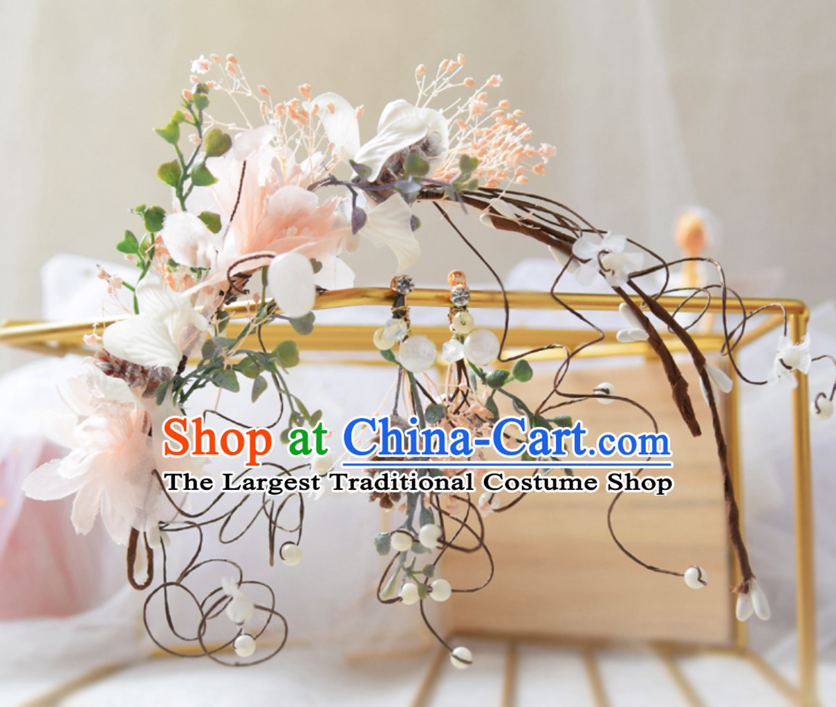 Top Handmade Flower Head Wear Garland Hair Jewelry and Earrings for Women
