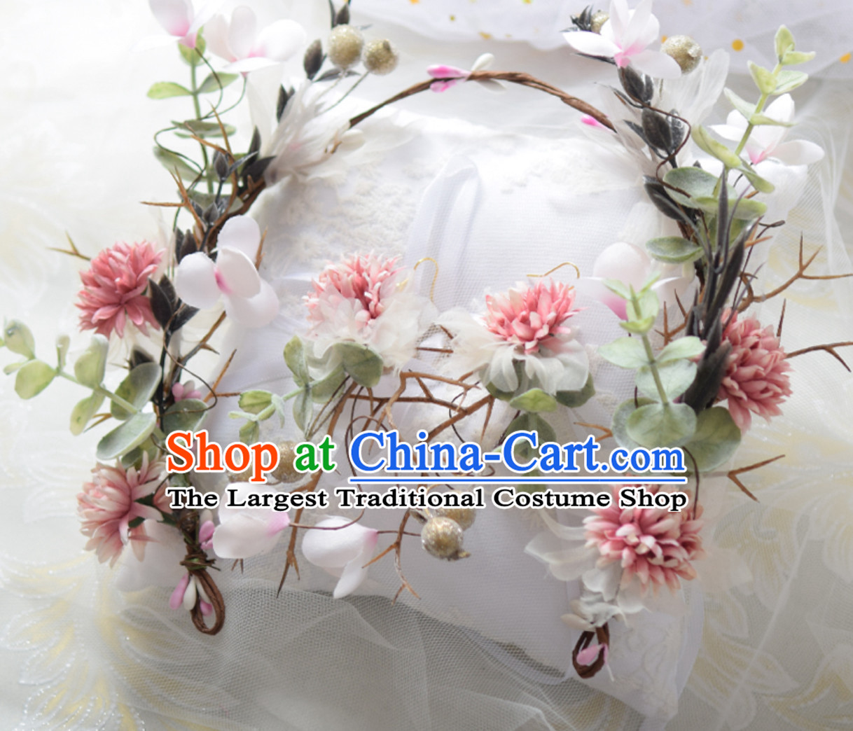 Top Handmade Flower Head Wear Garland Hair Jewelry and Earrings Complete Set for Women