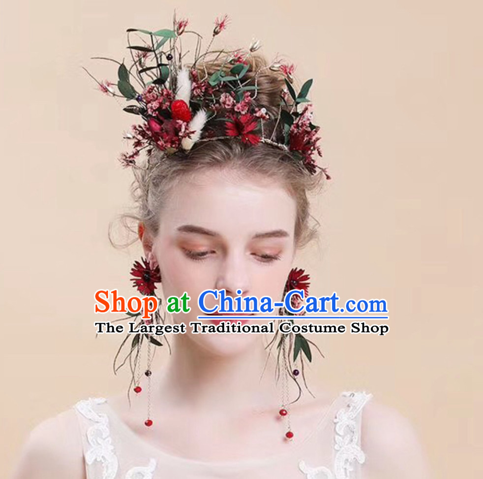 Romantic Handmade Garland Hair Jewelries and Earrings Set for Women