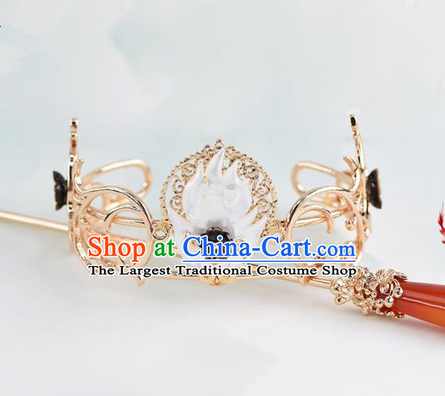 Chinese Traditional Swordsman Hair Accessories Ancient Prince Fire Hairdo Crown for Men