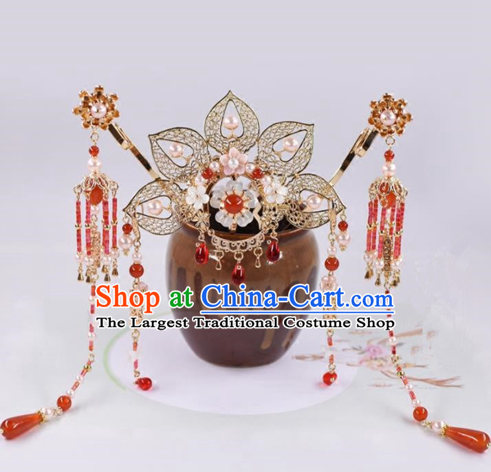 Chinese Handmade Palace Hairpins Agate Tassel Hair Crown Ancient Princess Hanfu Hair Accessories Headwear for Women