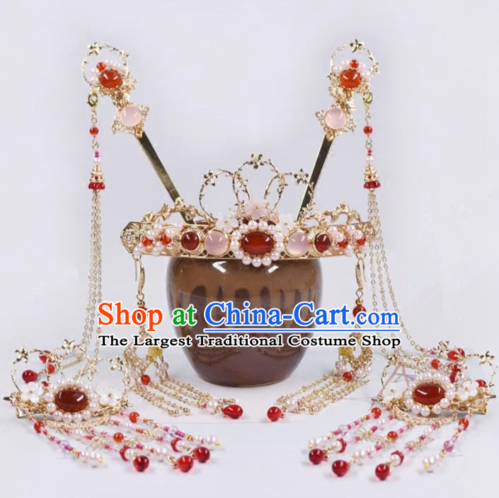 Chinese Handmade Palace Tassel Hairpins Rose Chalcedony Hair Crown Ancient Princess Hanfu Hair Accessories Headwear for Women