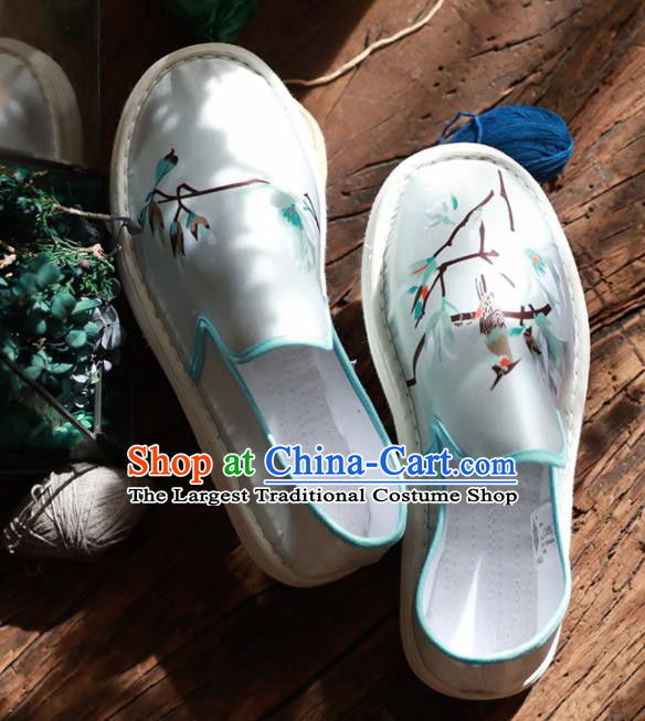 Chinese Handmade Blue Satin Shoes Traditional National Shoes Ancient Princess Embroidered Hanfu Shoes for Women