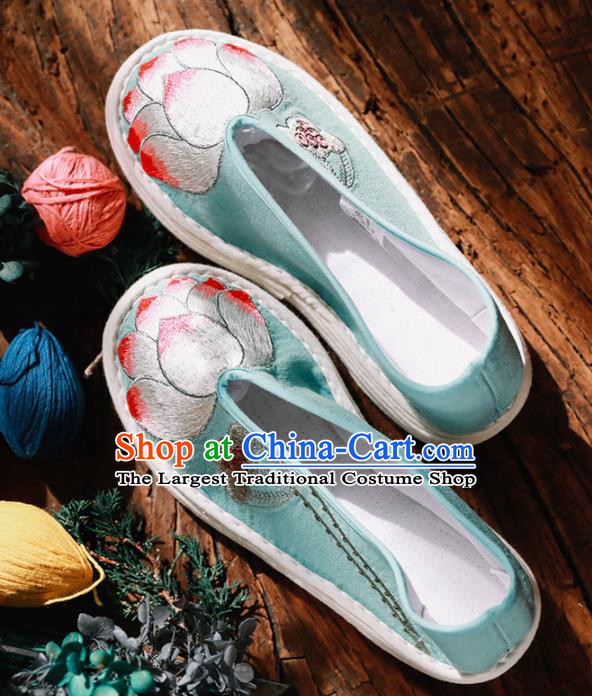 Chinese Handmade Green Cloth Shoes Traditional National Shoes Ancient Princess Embroidered Lotus Hanfu Shoes for Women