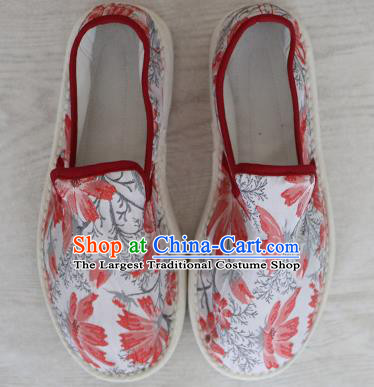 Chinese Handmade Printing Red Butterfly Cloth Shoes Traditional National Shoes Ancient Princess Hanfu Shoes for Women