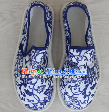 Chinese Handmade Printing Blue Lotus Cloth Shoes Traditional National Shoes Ancient Princess Hanfu Shoes for Women