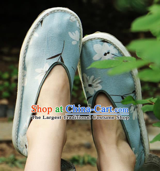 Chinese Handmade Blue Cloth Shoes Traditional National Shoes Ancient Hanfu Shoes for Women