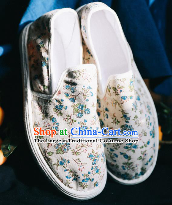 Chinese Handmade Printing White Cloth Shoes Traditional National Shoes Ancient Hanfu Shoes for Women
